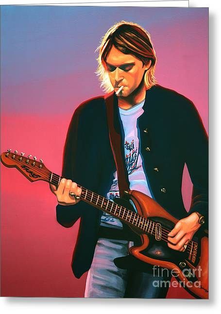 Kurt Cobain In Nirvana Painting Greeting Card by Paul Meijering