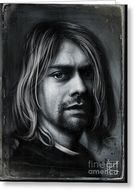 Wacom Greeting Cards - Kurt Cobain Greeting Card by Andre Koekemoer