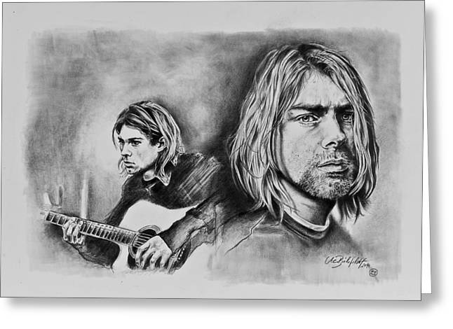 Stratocaster Drawings Greeting Cards - Kurt Cobain Greeting Card by Art Imago