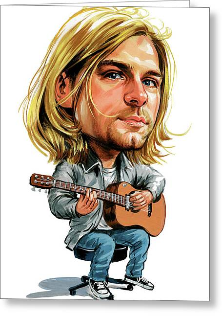 Kurt Greeting Cards - Kurt Cobain Greeting Card by Art