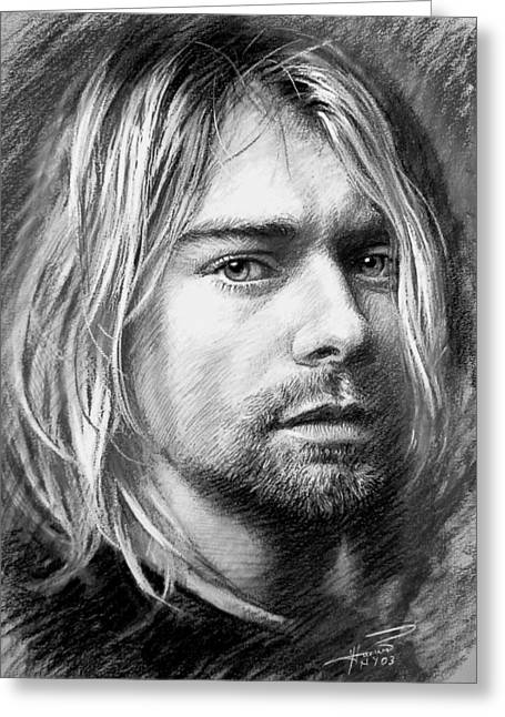 Kurt Cobain Greeting Card by Viola El