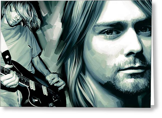 Kurt Greeting Cards - Kurt Cobain Artwork Greeting Card by Sheraz A