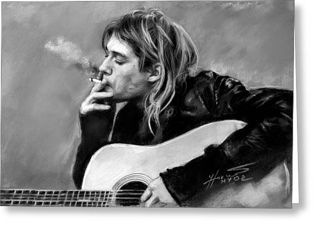 Kurt Greeting Cards - Kurt Cobain guitar  Greeting Card by Viola El