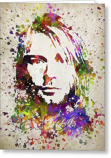 Kurt Greeting Cards - Kurt Cobain in Color Greeting Card by Aged Pixel