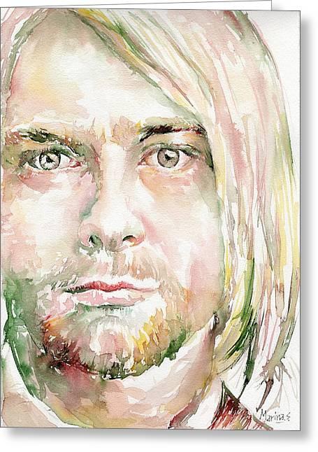 Original Robert Plant Paintings Greeting Cards - Kurt Cobain Greeting Card by Marina Sotiriou