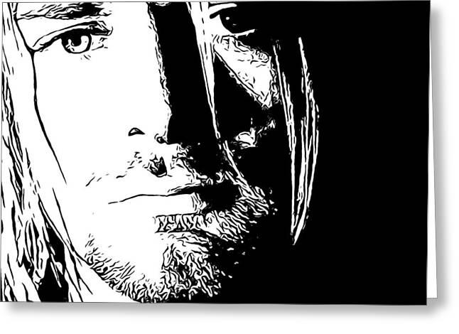Dave Mixed Media Greeting Cards - Kurt Cobain Melancholy Greeting Card by Dan Sproul
