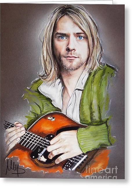 Kurt Greeting Cards - Kurt Cobain Greeting Card by Melanie D