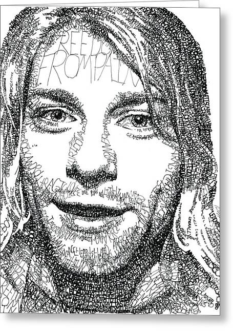 Fame Drawings Greeting Cards - Kurt Cobain Greeting Card by Michael  Volpicelli