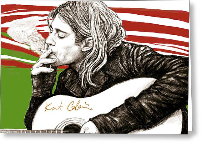 Kurt Greeting Cards - Kurt Cobain morden art drawing poster Greeting Card by Kim Wang