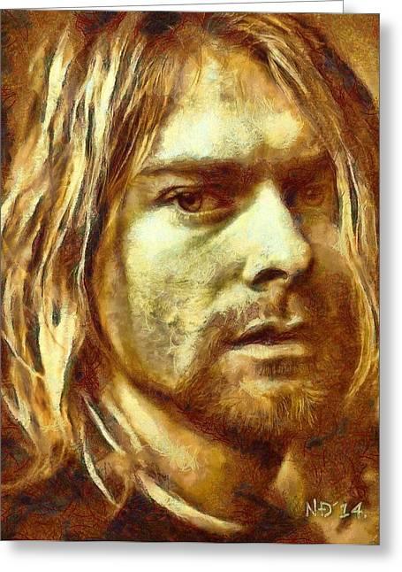 Lucent Dreaming Greeting Cards - Kurt Cobain Greeting Card by Nikola Durdevic