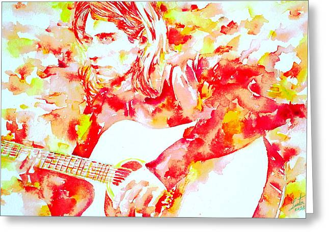 Bands On Stage Paintings Greeting Cards - KURT COBAIN playing LIVE - watercolor portrait Greeting Card by Fabrizio Cassetta