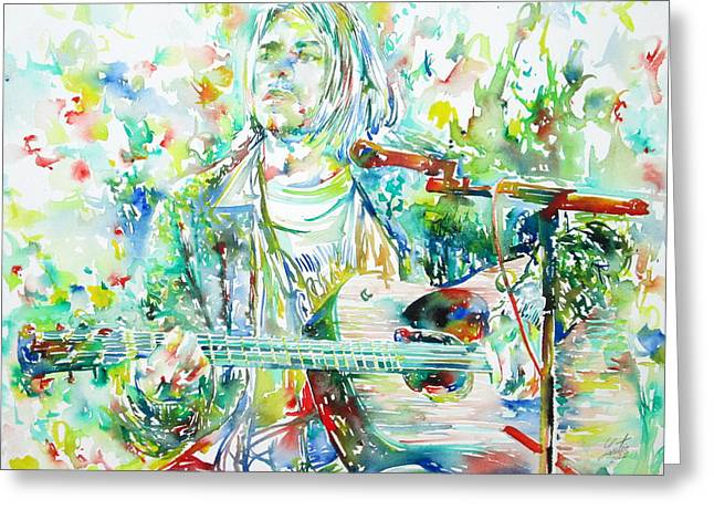 Kurt Greeting Cards - KURT COBAIN playing the guitar - watercolor portrait Greeting Card by Fabrizio Cassetta
