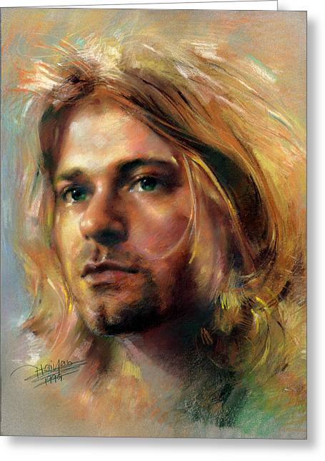 Hand Drawn Pastels Greeting Cards - Kurt Cobain Portrait by Artist Haiyan Greeting Card by Haiyan Art