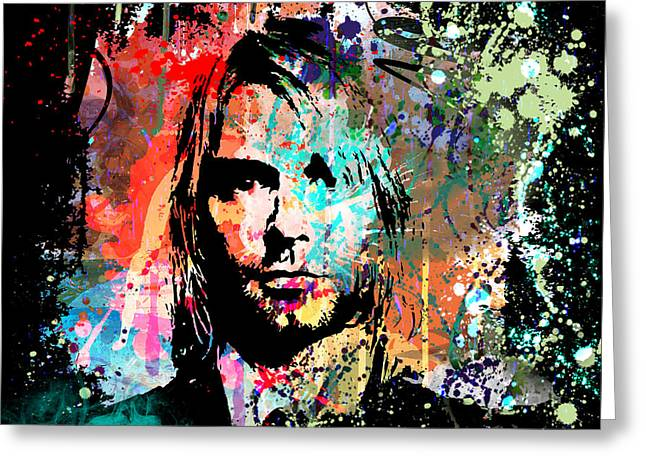 Abstract Portrait Greeting Cards - Kurt Cobain Portrait Greeting Card by Gary Grayson