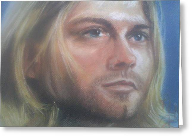 Celebrity Portraits Pastels Greeting Cards - Kurt Cobain Greeting Card by Ronnie Melvin