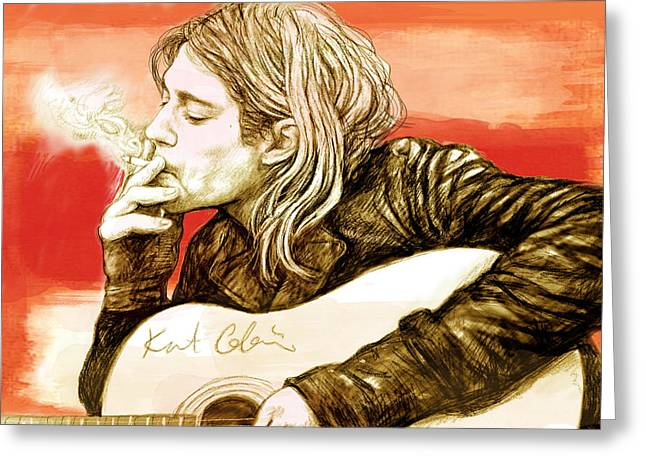 Lead Mixed Media Greeting Cards - Kurt Cobain - stylised drawing art poster Greeting Card by Kim Wang