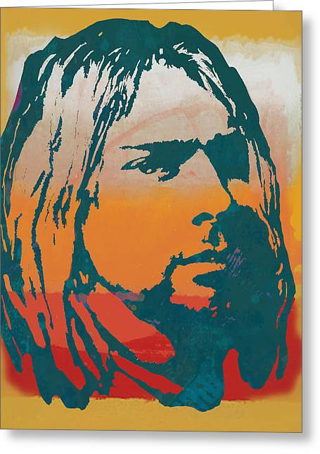 Lead Mixed Media Greeting Cards - Kurt Cobain - stylised pop art poster Greeting Card by Kim Wang