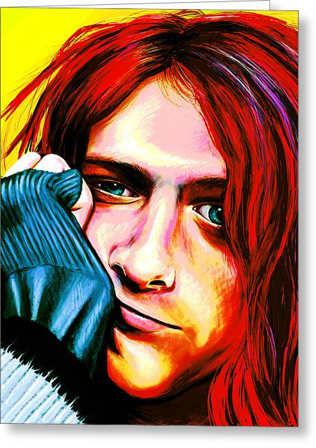 Rowe Digital Art Greeting Cards - Kurt Cobain - Ultra Color Version Greeting Card by Shawna  Rowe