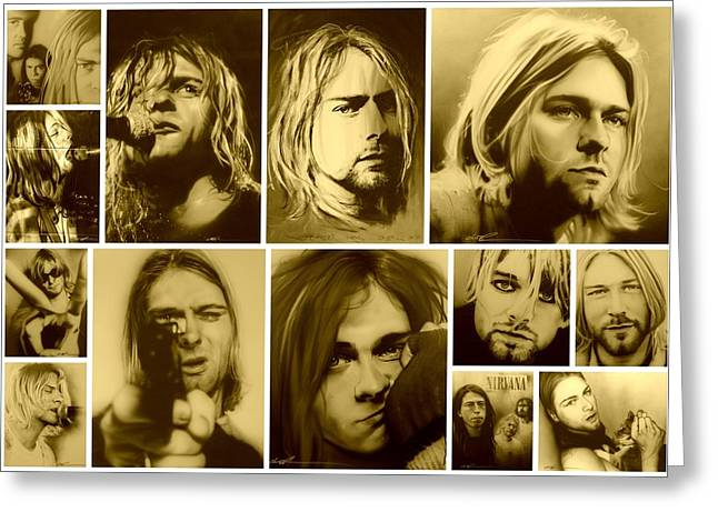 Kurt Cobain Greeting Cards - Kurt Mosaic Greeting Card by Christian Chapman Art