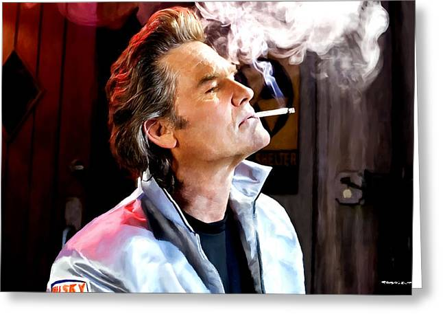 Death Proof Greeting Cards - Kurt Russell @ Death Proof Greeting Card by Gabriel T Toro