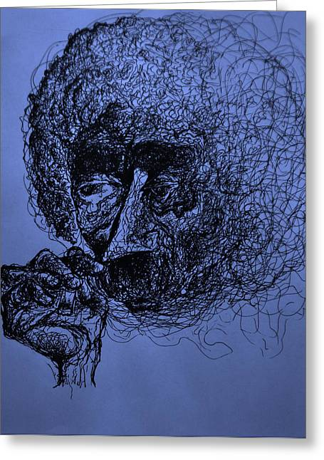 Smoking Book Greeting Cards - Kurt Vonnegut Greeting Card by Will  Carlson
