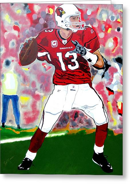 Football Collectibles Greeting Cards - Kurt Warner-In The Zone Greeting Card by Bill Manson
