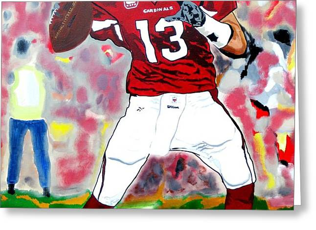 Kurt Warner-In The Zone Greeting Card by Bill Manson