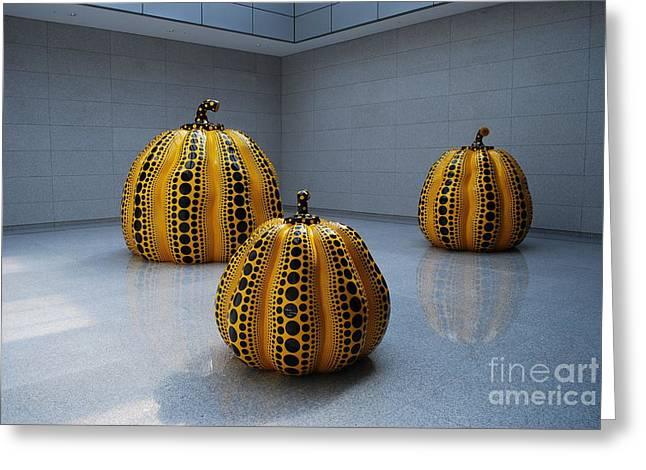 Kusama Greeting Cards - Kusama Pumpkins Greeting Card by Werner Van den Berg