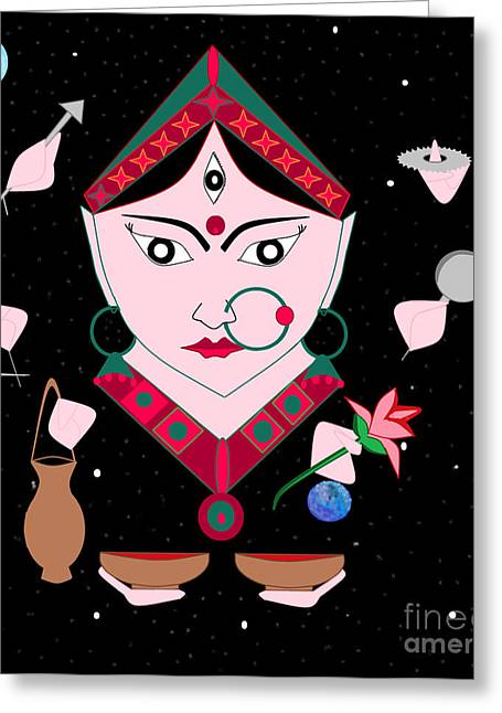 Hindu Goddess Digital Greeting Cards - Kushmaanda Greeting Card by Pratyasha Nithin
