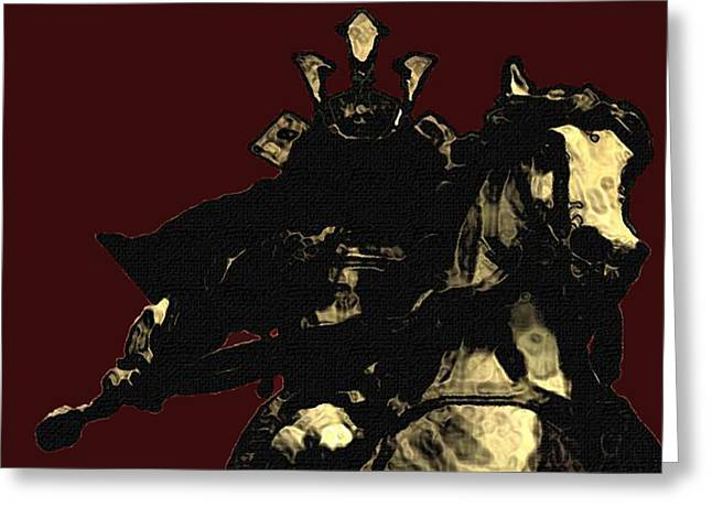 Horse Drawings Greeting Cards - Kusunoki Masahige in Battle Greeting Card by Jeff DOttavio