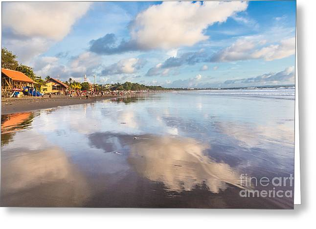 Recently Sold -  - Reflection In Water Greeting Cards - Kuta beach in Seminyak Greeting Card by Didier Marti