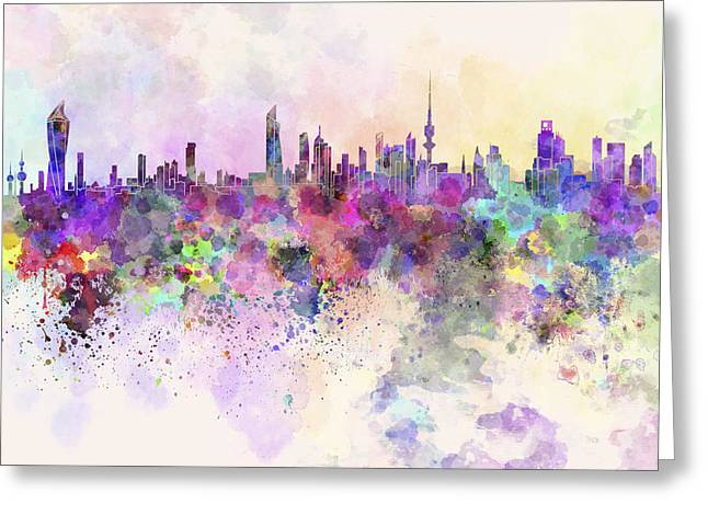 Color Splash Greeting Cards - Kuwait City skyline in watercolor background Greeting Card by Pablo Romero