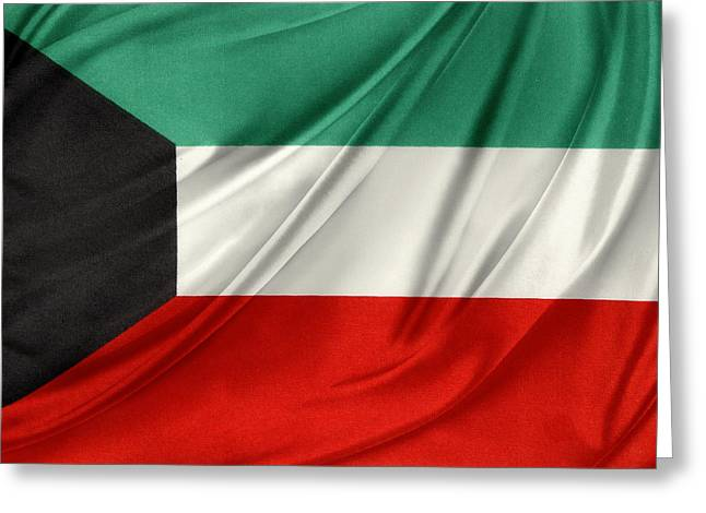 Waving Flag Greeting Cards - Kuwait flag  Greeting Card by Les Cunliffe