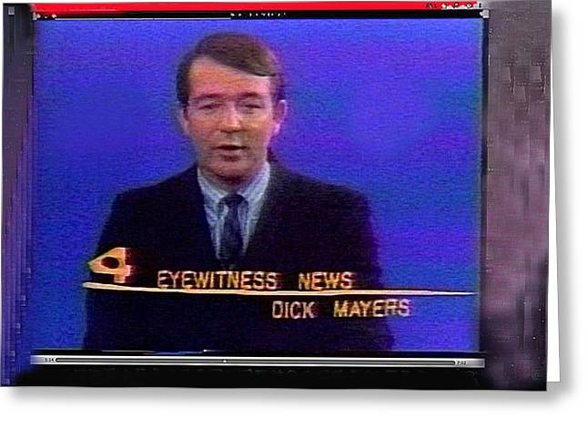 Anchorman Greeting Cards - KVOA TV anchorman interviewer writer photographer Dick Mayers screen capture collage circa 1965-2011 Greeting Card by David Lee Guss