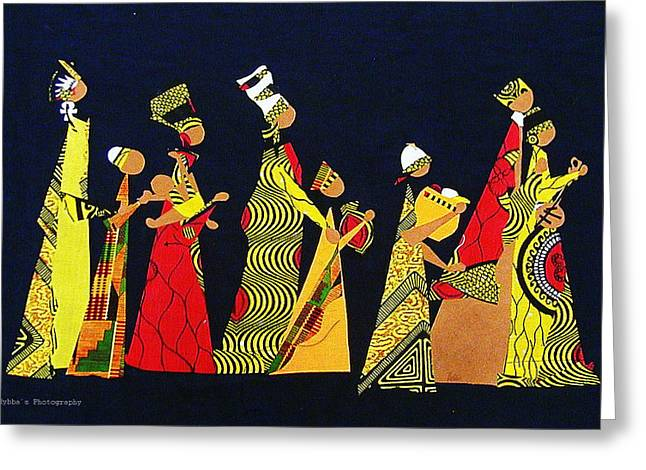People Tapestries - Textiles Greeting Cards - Kwaanza Celebration Greeting Card by Ruth Yvonne Ash