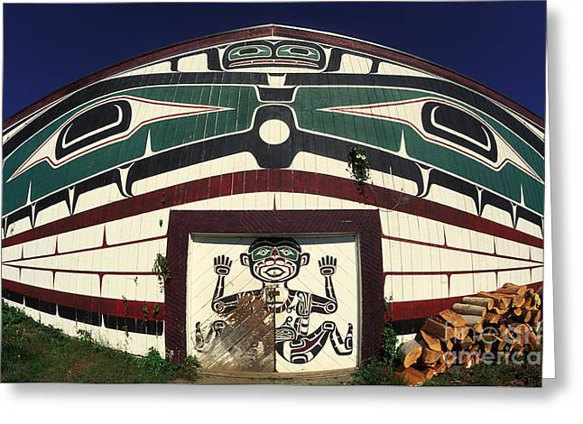 Kwakiutl Big House, British Columbia Greeting Card by Ron Sanford