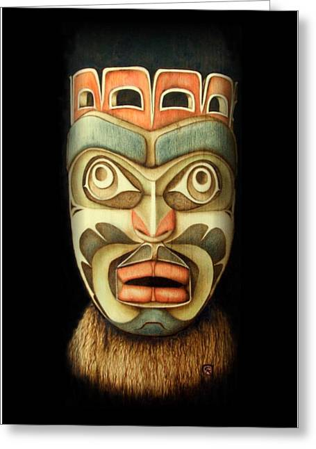 Pacific Northwest Pyrography Greeting Cards - Kwakiutl Free Spirit Mask Greeting Card by Cynthia Adams