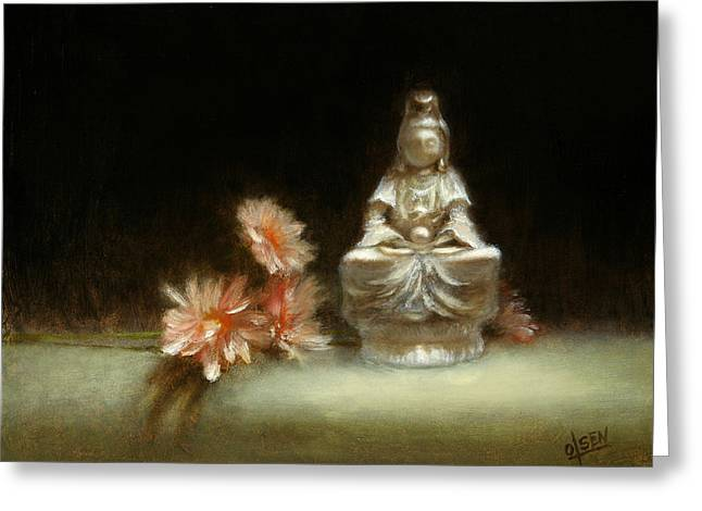 Old Masters Greeting Cards - Kwan Yin Greeting Card by Christy Olsen