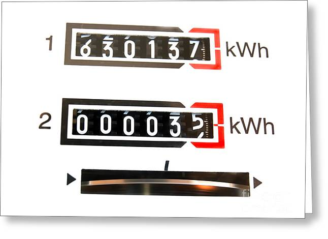Current Control Greeting Cards - kWh counter Greeting Card by Sinisa Botas
