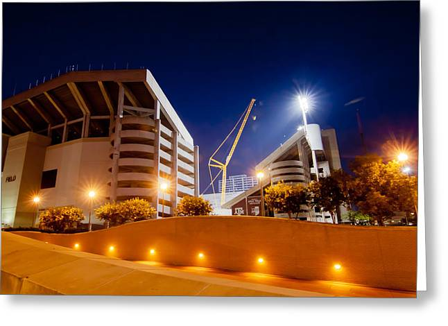 Aggies Greeting Cards - Kyle Field at Night Greeting Card by Linda Unger