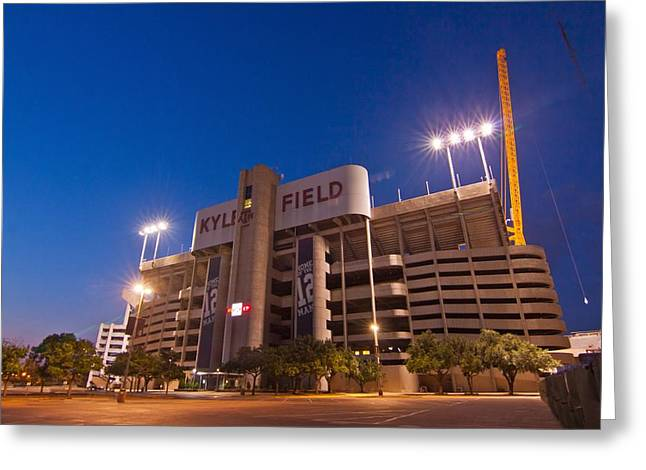 Aggies Greeting Cards - Kyle Field Blue Hour Greeting Card by Linda Unger