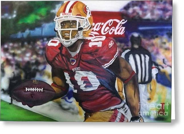 49ers Paintings Greeting Cards - Kyle Williams 49ers Greeting Card by Jerald Vallan