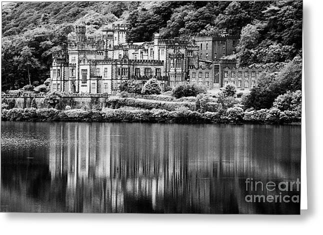 Historical Buildings Greeting Cards - Kylemore Abbey reflected in the lake Connemara galway ireland Greeting Card by Joe Fox