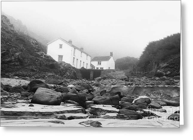Terri Waters Greeting Cards - Kynance Cove Cottages in the Mist Greeting Card by Terri  Waters