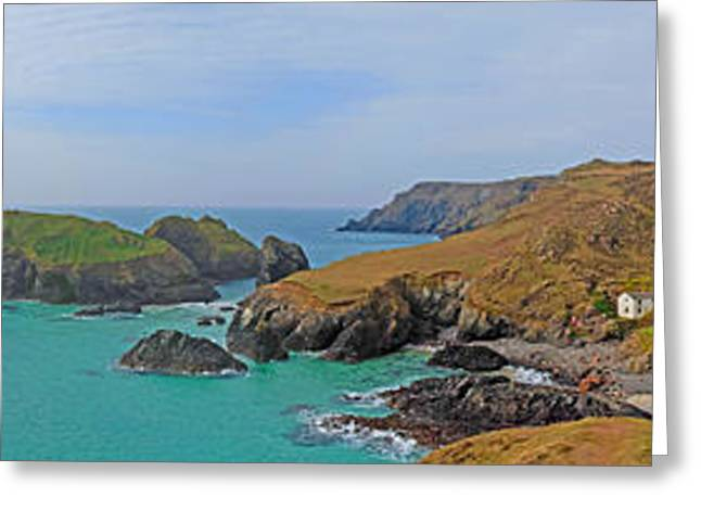 Blue Green Wave Greeting Cards - Kynance Cove Panorama Greeting Card by Chris Thaxter