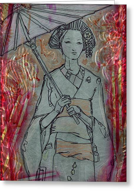 Kyoto Girl Greeting Card by Luis  Navarro