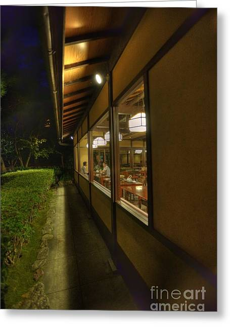 Kyoto Greeting Cards - Kyoto Nighthawks at the diner Greeting Card by David Bearden