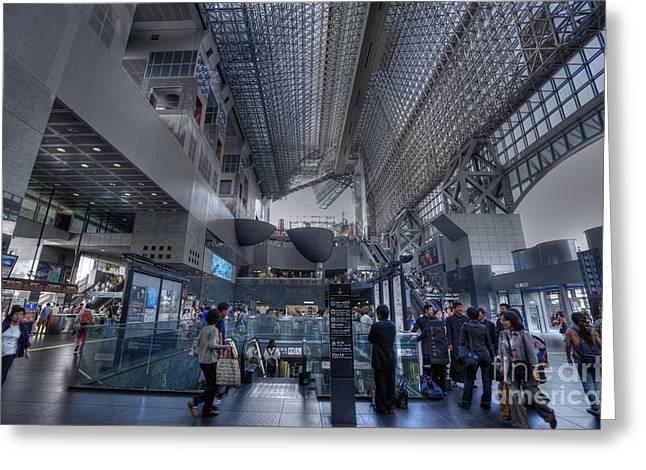 Kyoto Greeting Cards - Kyoto Station early morning Greeting Card by David Bearden