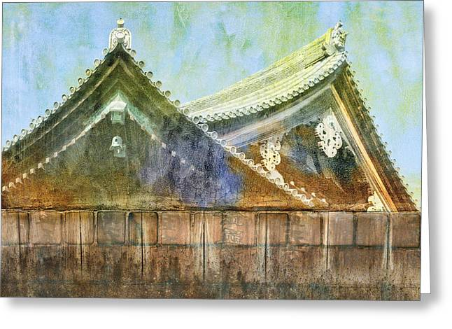 Kanji Greeting Cards - Kyoto Temple Greeting Card by Carol Leigh
