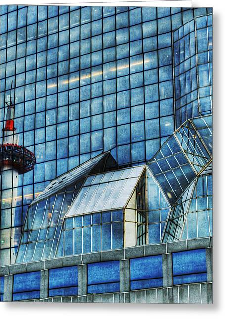 Glass Facade Greeting Cards - Kyoto Train Station Greeting Card by Juli Scalzi